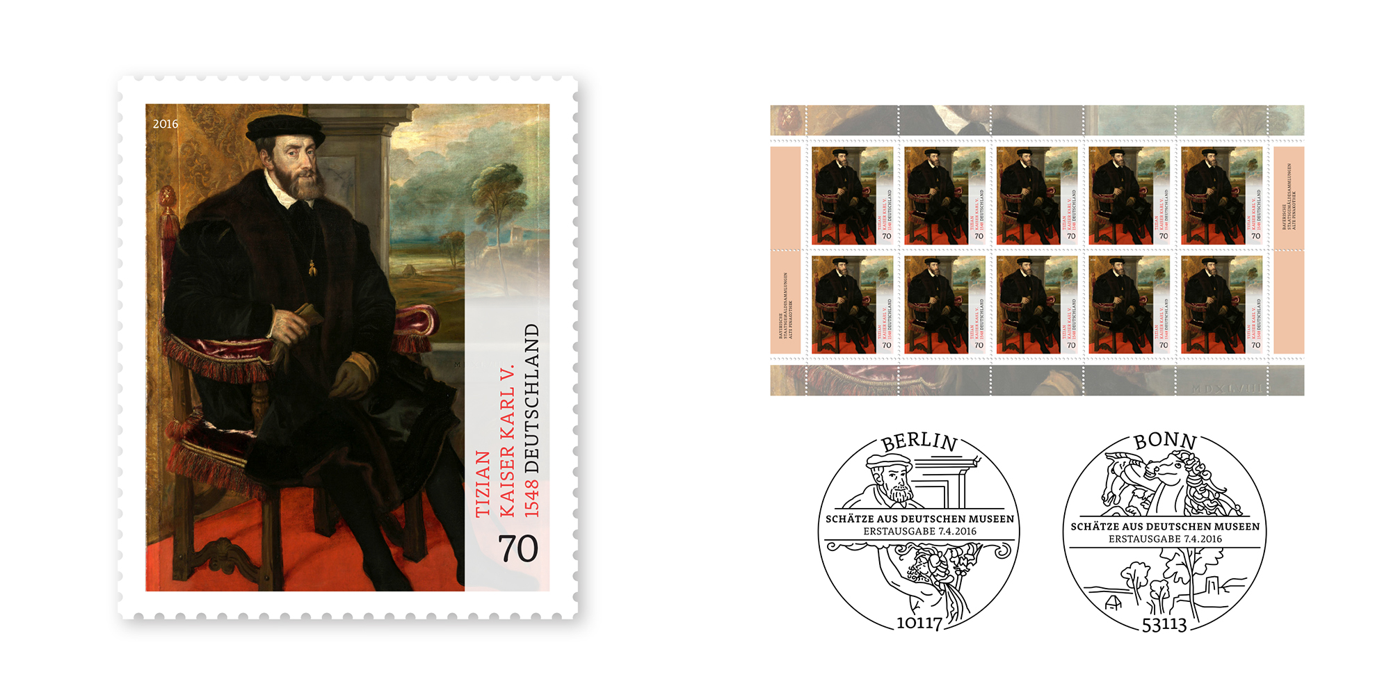 Sonderpostwertzeichen-Serie Schätze aus deutschen Museen: Kaiser Karl V.